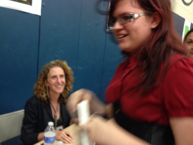Gayle Forman with adoring fan Gabby Mayhew. (2015)